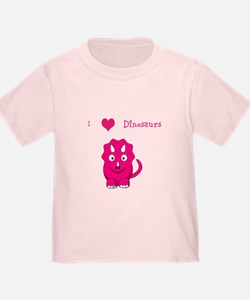 I Heart Dinosaurs toddler tee - pink
