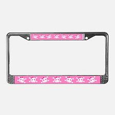 Pink Skull License Plate Frame