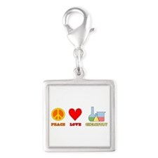 Peace Love Chemistry Silver Square Charm