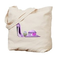 Lilac Stiletto Shoe, Hat and Cupcake Art Tote Bag