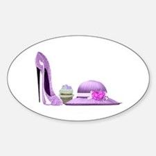 Lilac Stiletto Shoe, Hat and Cupcake Art Decal
