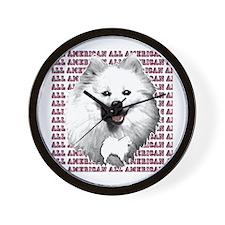 all american eskimo dog Wall Clock