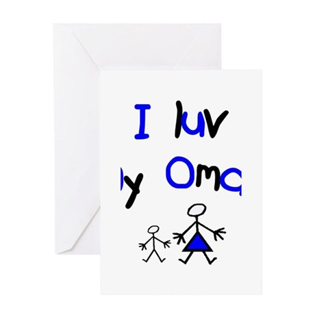 i luv my oma blue Greeting Cards