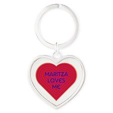 Maritza Loves Me Heart Keychain