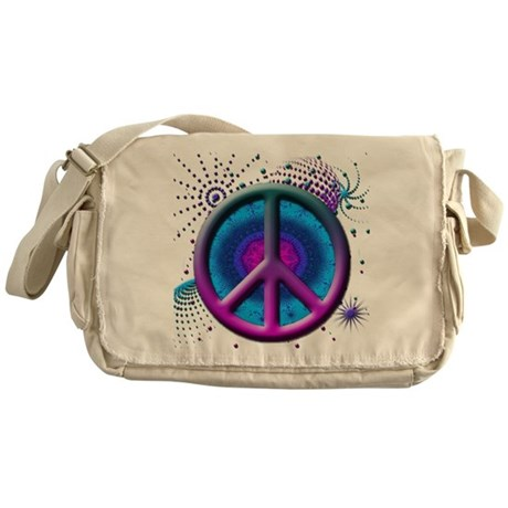 Peace symbol (fushia) Messenger Bag