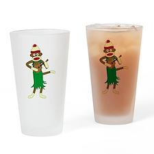 Sock Monkey Ukulele Drinking Glass