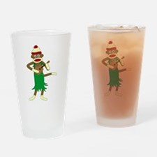 Sock Monkey Ukulele Drinking Glass