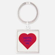 Mattie Loves Me Square Keychain