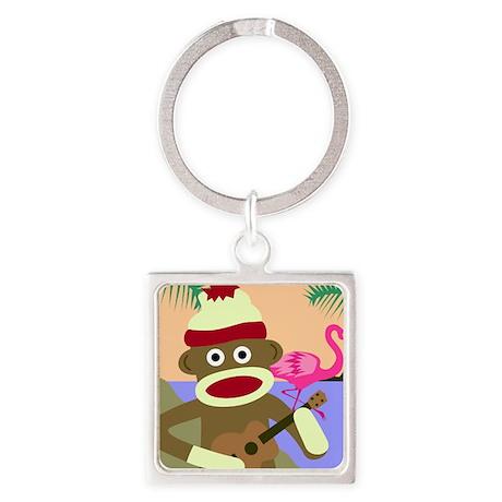 Sock Monkey Ukulele Square Keychain