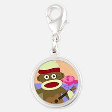 Sock Monkey Ukulele Silver Round Charm