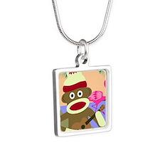 Sock Monkey Ukulele Silver Square Necklace