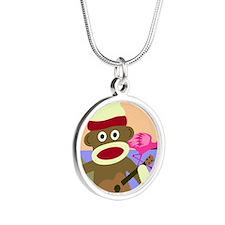 Sock Monkey Ukulele Silver Round Necklace