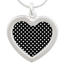 Black and White Polka Dot Silver Heart Necklace