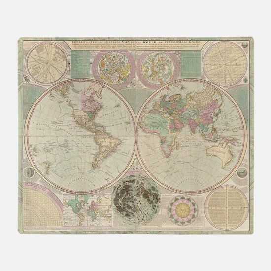 Bowles Antique Map Throw Blanket