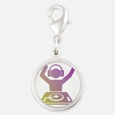 Colorful DJ Silver Round Charm