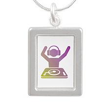 Colorful DJ Silver Portrait Necklace