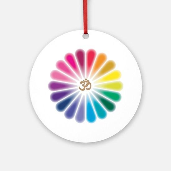 Om Rainbow Flower Ornament (Round)