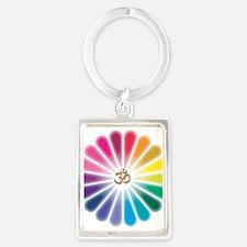 Om Rainbow Flower Portrait Keychain