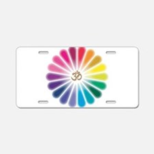 Om Rainbow Flower Aluminum License Plate