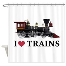 I LOVE TRAINS copy.png Shower Curtain