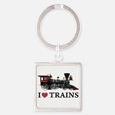 I LOVE TRAINS copy.png Square Keychain