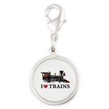 I LOVE TRAINS copy.png Silver Round Charm