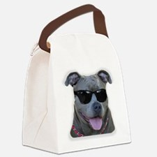 Pitbull in sunglasses Canvas Lunch Bag
