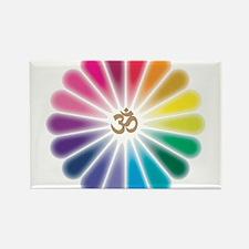 Om Rainbow Flower Rectangle Magnet