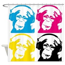 4 DJ monkeys Shower Curtain