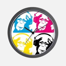 4 DJ monkeys Wall Clock