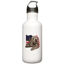 otterhound on flag Sports Water Bottle