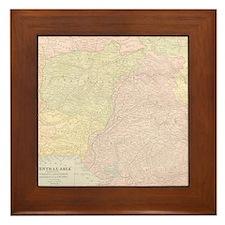 Vintage Central Asia Map Framed Tile