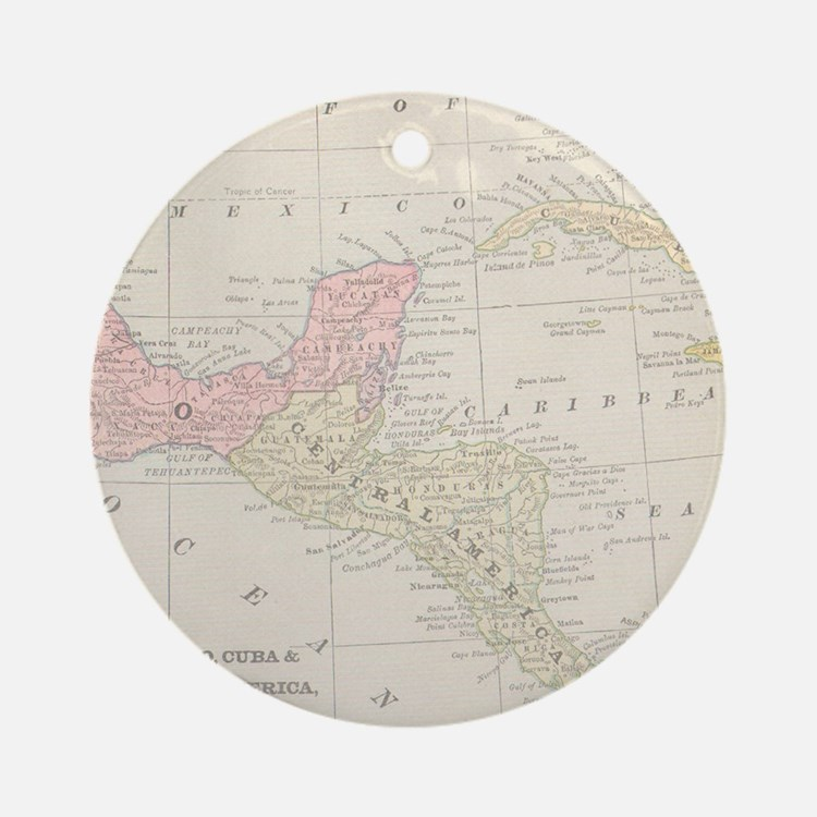 Vintage Central America Map Ornament (Round)