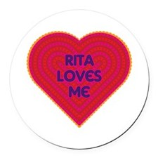 Rita Loves Me Round Car Magnet