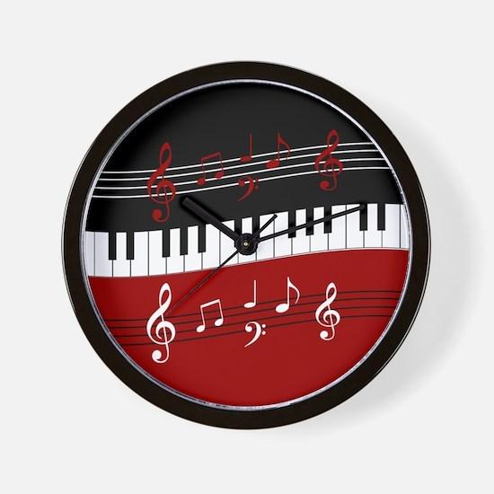 Stylish Piano keys and musical notes Wall Clock