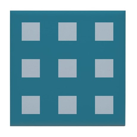 Teal Small Squares Tile Coaster