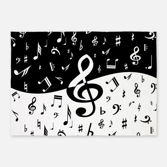 Stylish random musical notes 5'x7'Area Rug