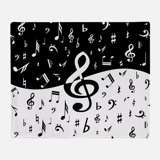 Stylish random musical notes Throw Blanket