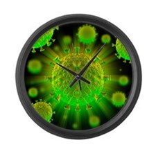 HIV particles - Large Wall Clock