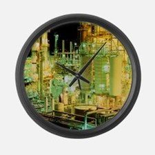Oil refinery at night - Large Wall Clock