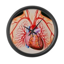 Human heart, artwork - Large Wall Clock
