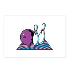 Turquoise and Purple Bowling Design Postcards (Pac
