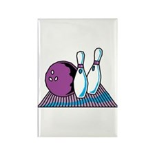 Turquoise and Purple Bowling Design Rectangle Magn