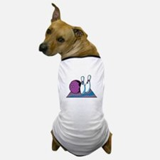 Turquoise and Purple Bowling Design Dog T-Shirt