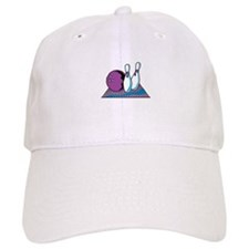 Turquoise and Purple Bowling Design Baseball Cap