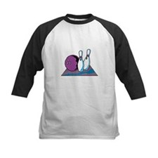 Turquoise and Purple Bowling Design Tee
