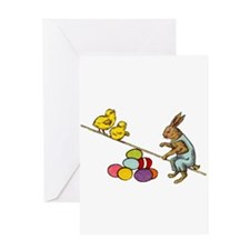 Vintage Easter Bunny and Easter Eggs Greeting Card