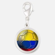 Colombia Soccer Ball Silver Round Charm
