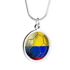 Colombia Soccer Ball Silver Round Necklace