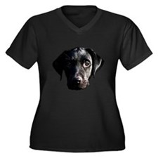 Black lab Women's Plus Size V-Neck Dark T-Shirt